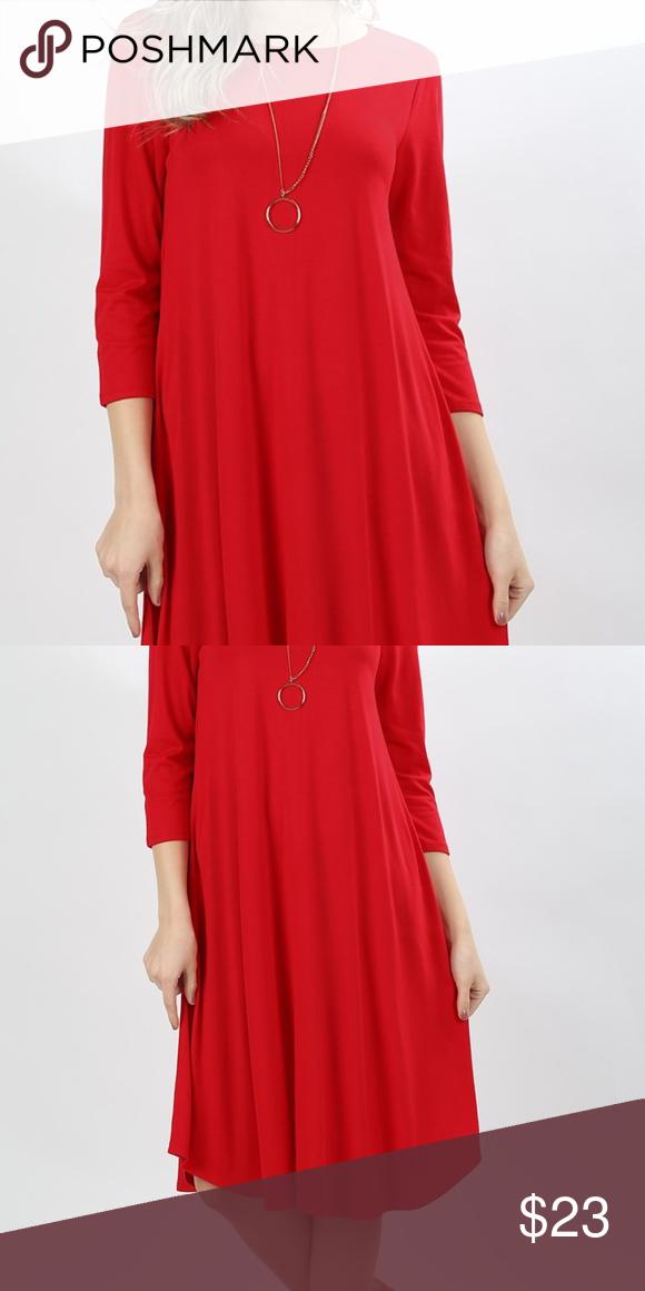 Ruby Red Round Neck Knee Length Dress Viscose 3/4 Sleeve