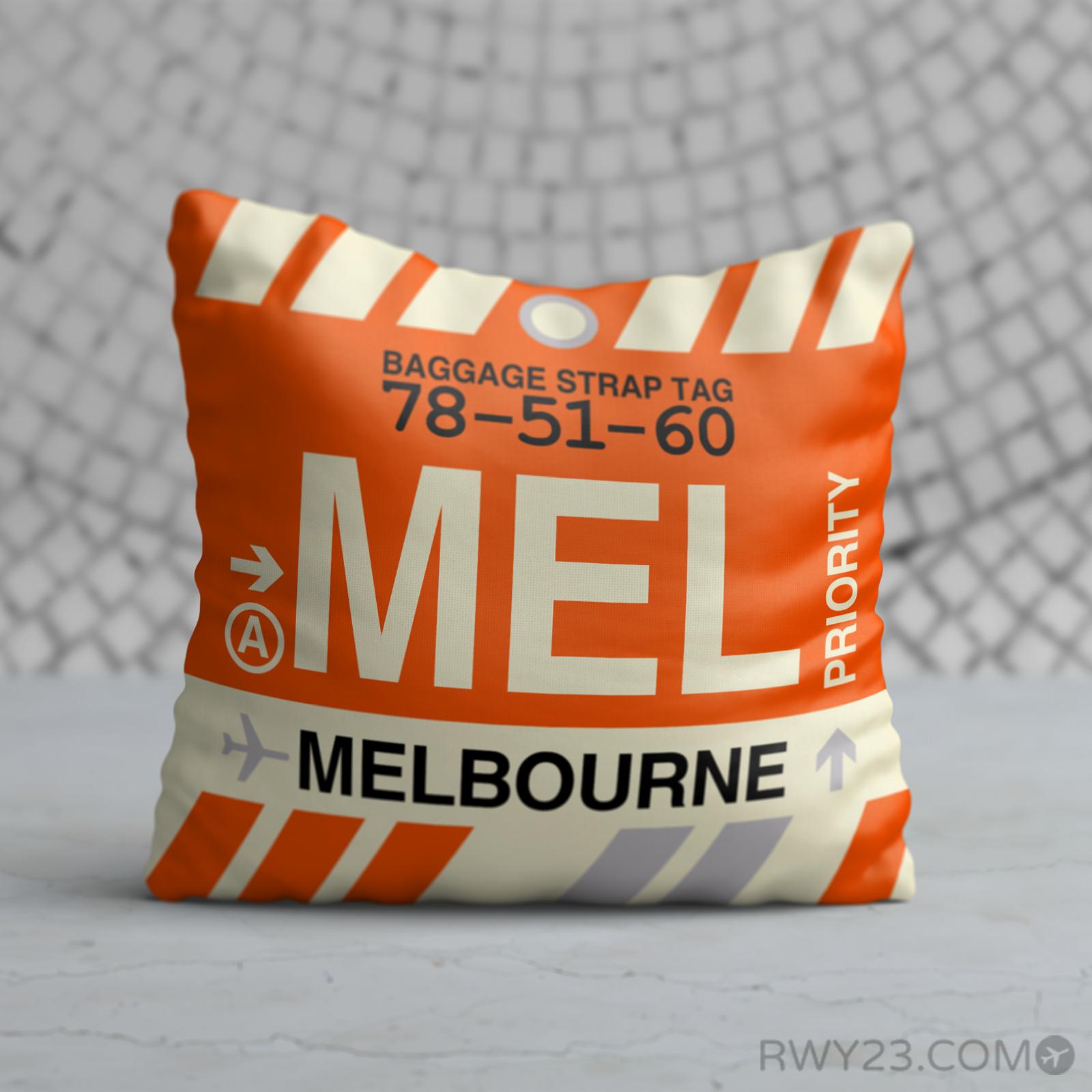 MEL Melbourne Throw Pillow • Airport Code & Vintage