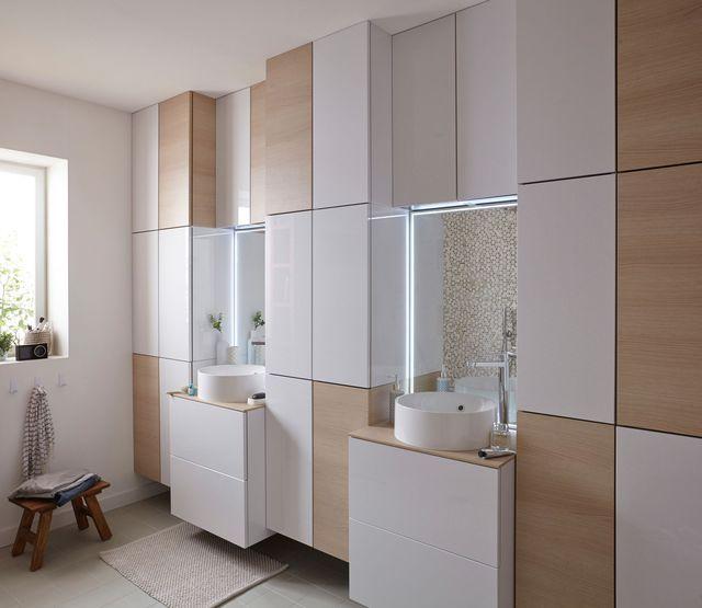 Salle de bain familiale  bien lu0027aménager pour parents et enfants - leroy merlin meuble salle de bain neo