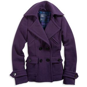 Womens AE Warm Peacoat - Purple - American Eagle Outfitters ...