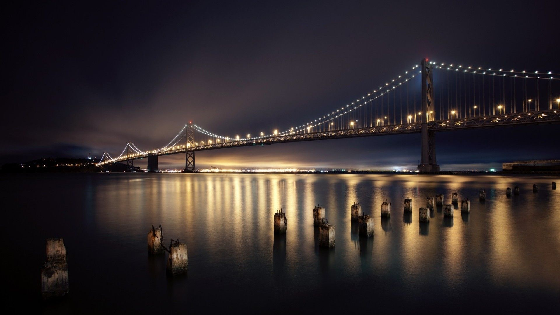 side view bridge at night with light reflections | : Night Bridges San Francisco City Lights Long Exposure Reflections ...