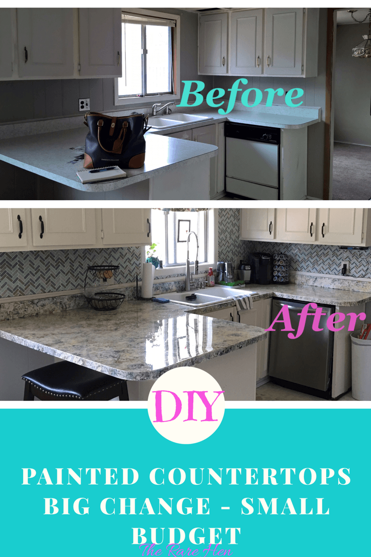 Diy Painted Countertops Big Change On A Small Budget Paintingcrafts Budget Diy Countertops Kitchen Remodel Small Diy House Renovations