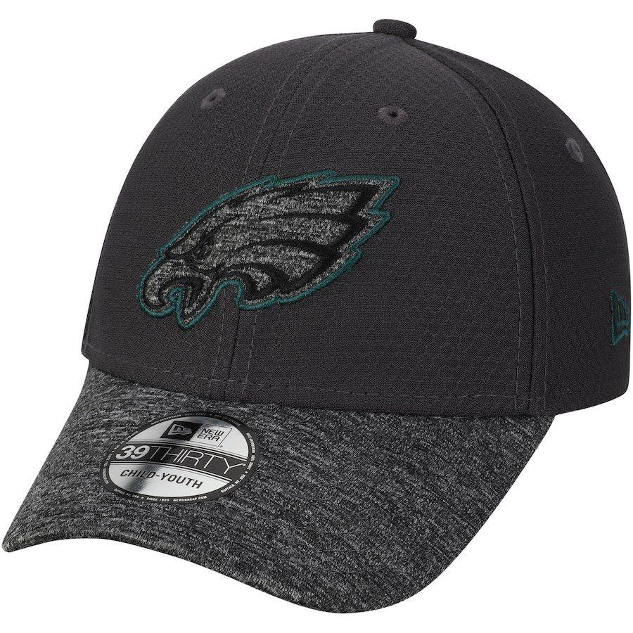 4adc9c611 Youth Philadelphia Eagles New Era Graphite Popped Shadow 39THIRTY Flex Hat