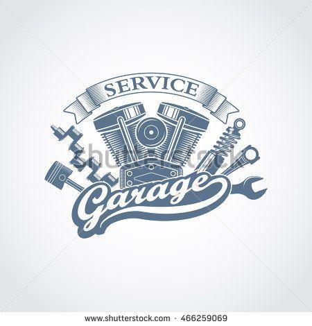 Monochrome Vector Garage Service Logo In A Retro Style Vintage Car