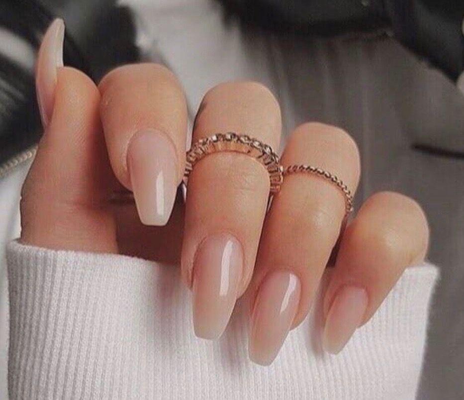 Flare Nails, Nails, Nude Nails