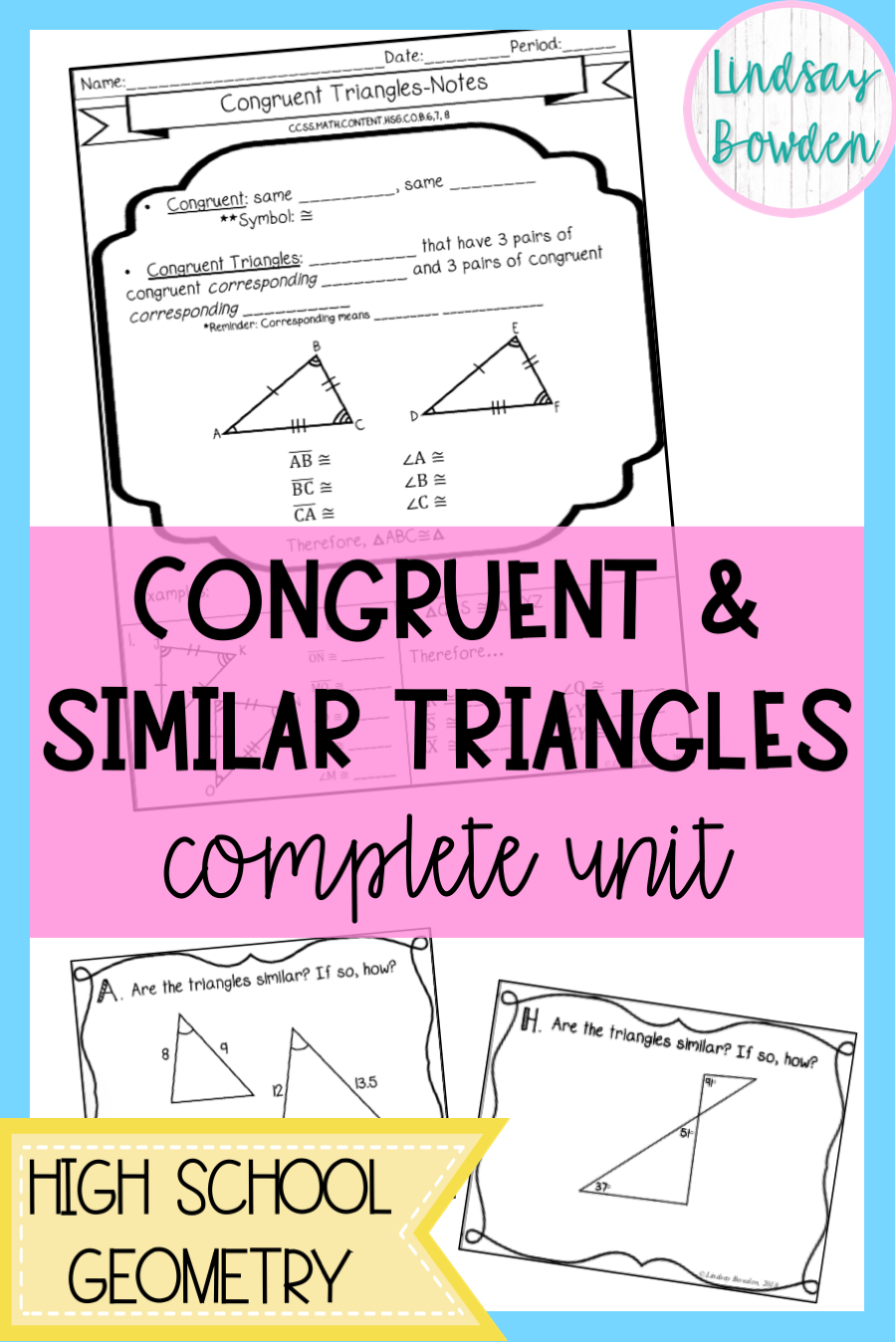 Congruent and Similar Triangles Complete Unit! Includes notes [ 1350 x 900 Pixel ]