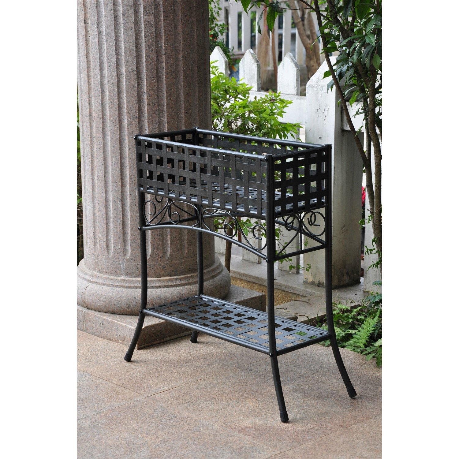 This Elevated Rectangular Metal Planter Stand In Black