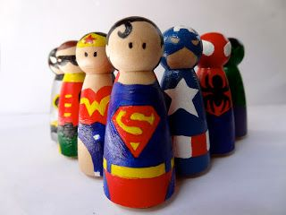 Blogs, Dogs, Frogs and books.: Superhero peg people #superherocrafts