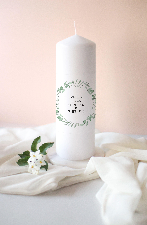 Photo of Personalized Wedding Candle / Christening Candle Unity Candle / Candle for Weddings / Wedding Welcome / Eucalyptus Crest Wreath Wedding Day