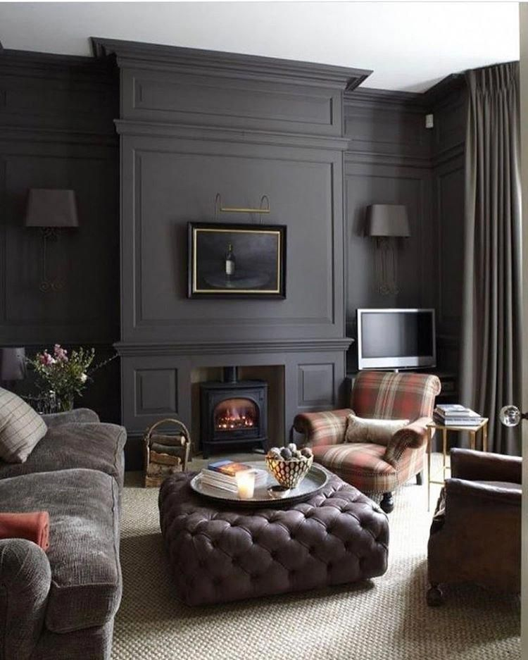Dark And Cozy For The Cold Mornings #luxurylivingroom