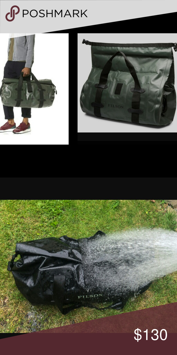 bc62cce843 Letter S has small space thru print Filson Bags Duffel Bags. Army Green. Waterproof  Dry Duffle.