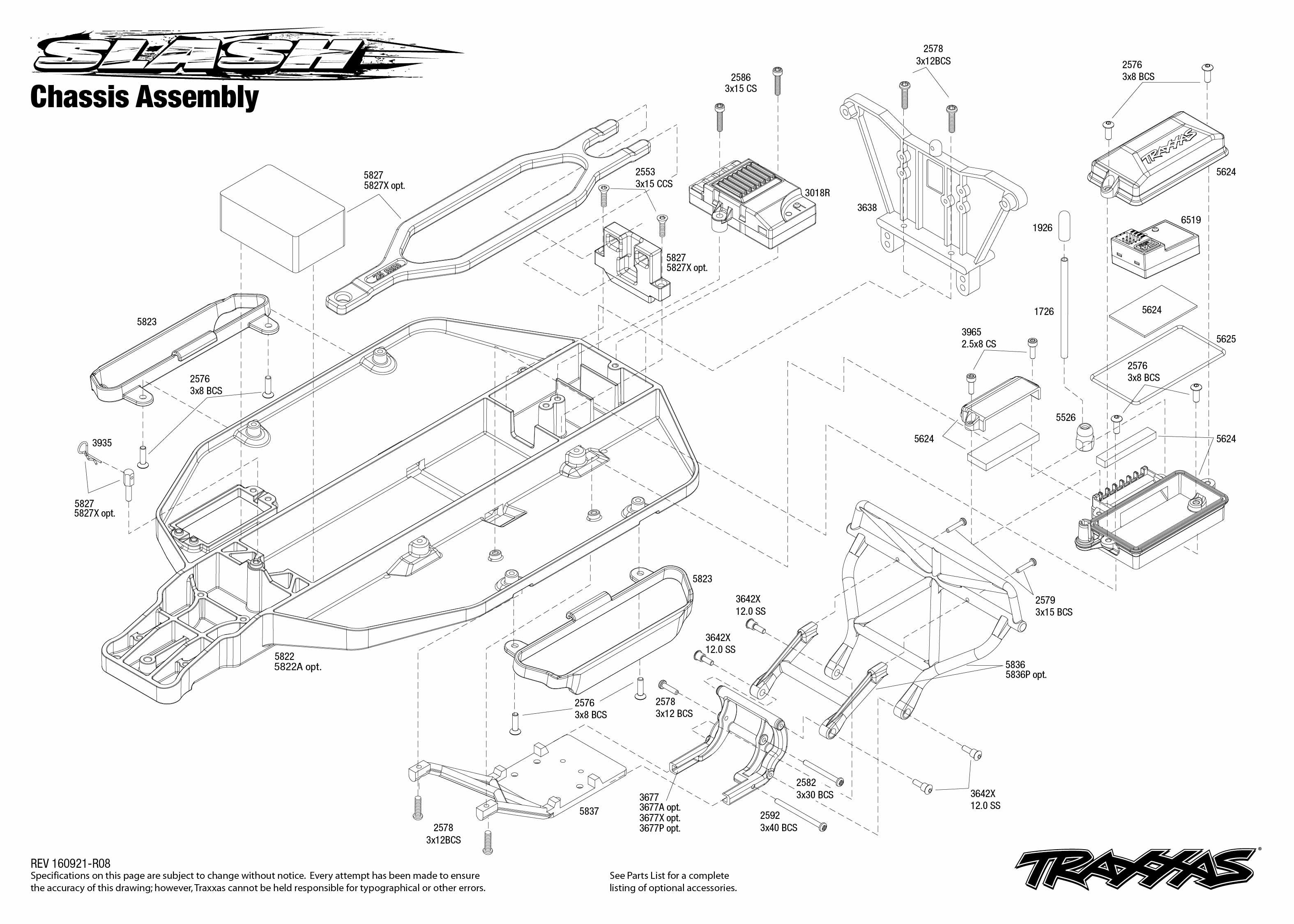 Slash 1 Chassis Assembly Exploded View