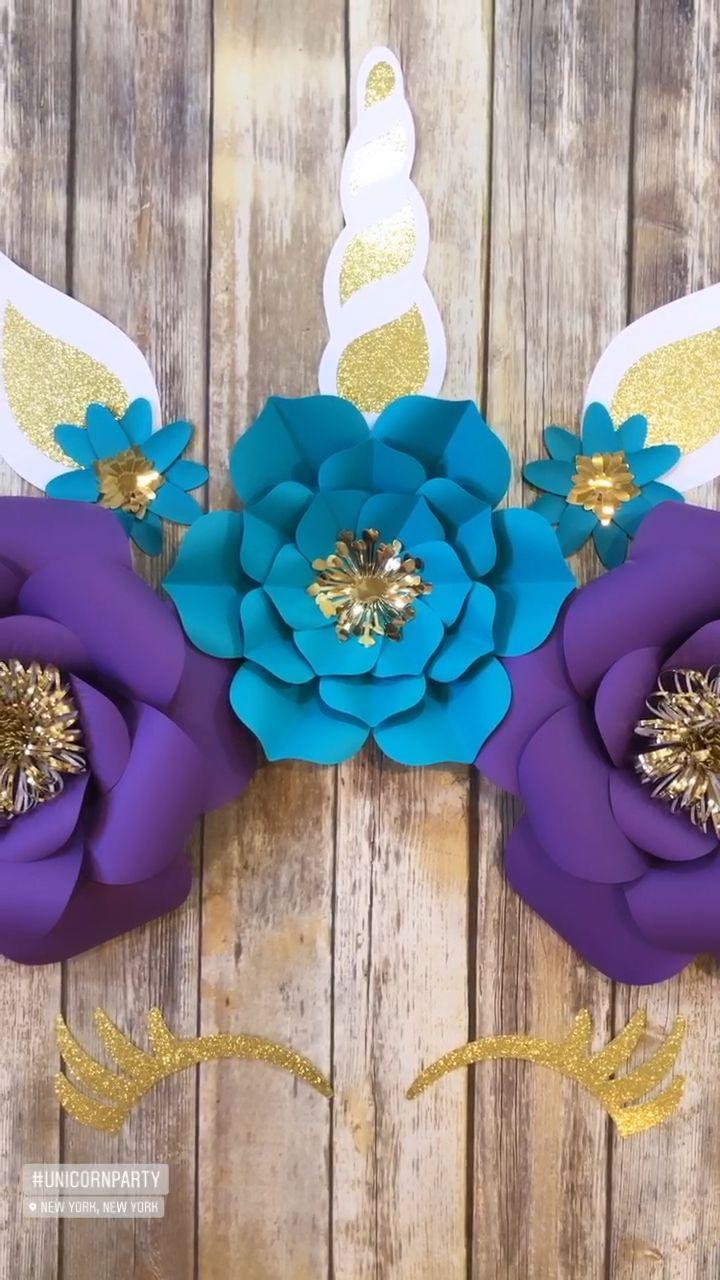 Photo of Unicorn Backdrop – Paper Flower Decor – Unicorn Party