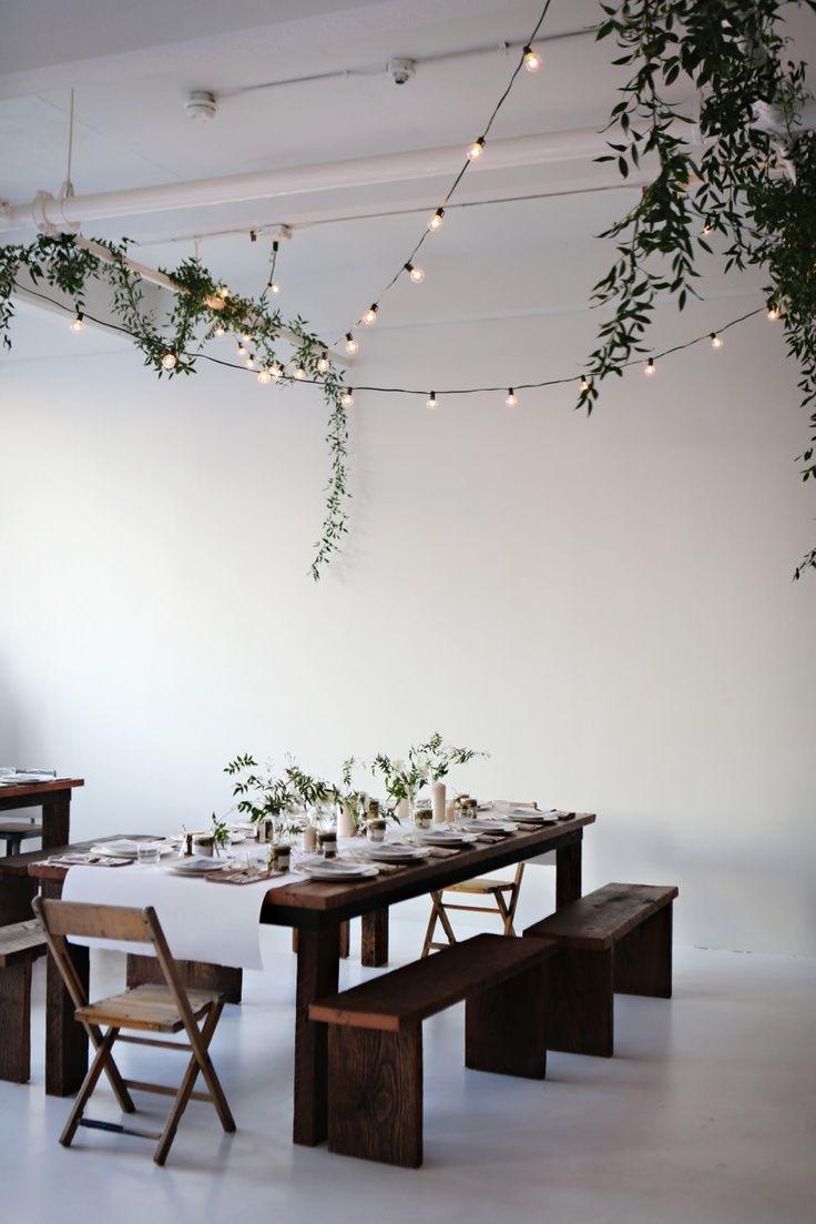 Esszimmer ideen im freien overhead string lighting strand lights  dining room  pinterest