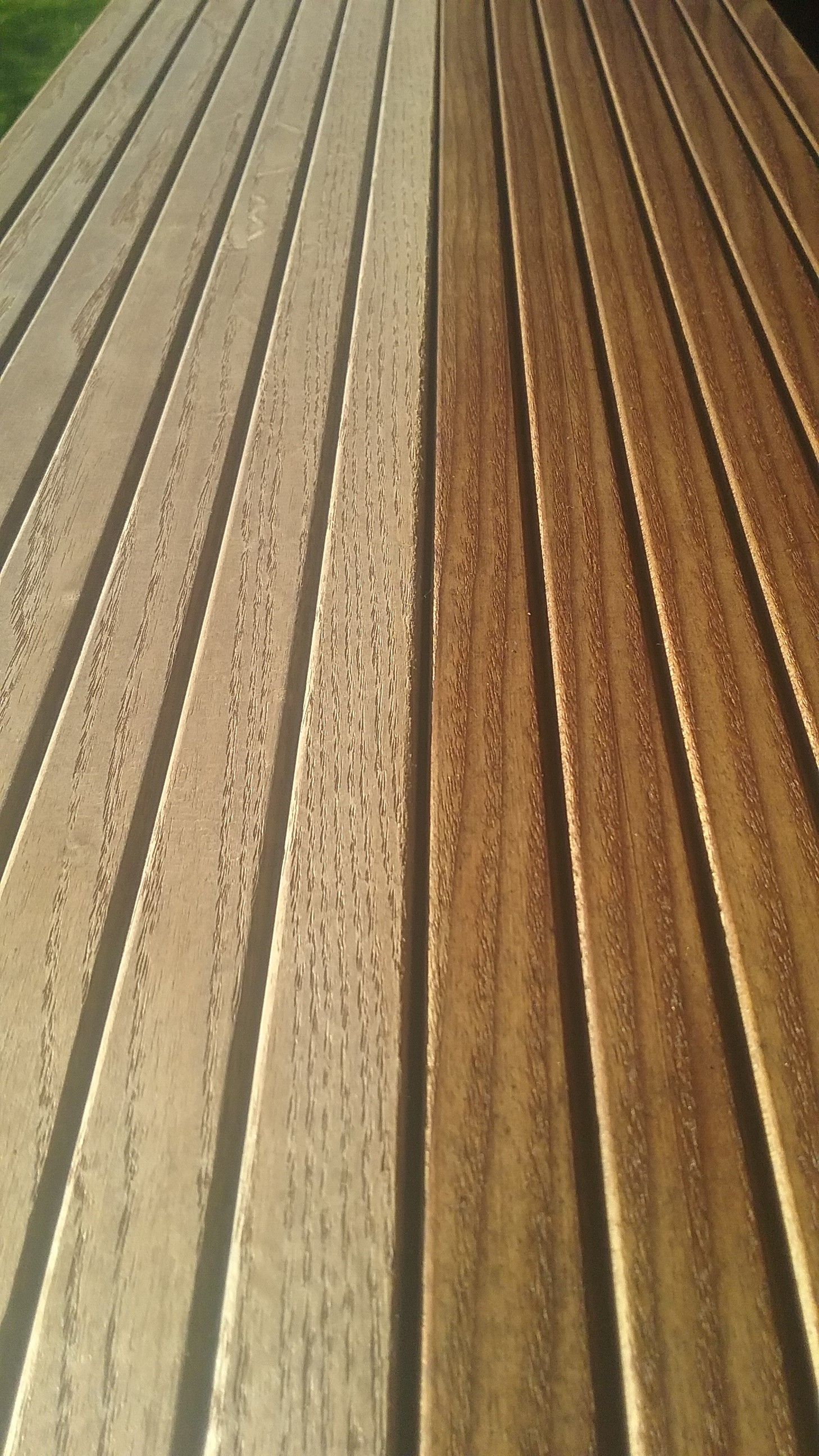 Novawood Thermally Modified Wood Decking Unfinished Exposed 4 Months And Cutek Extreme Wood Preservative 2 Coats Of Clear Coating Applied No Cleaners With Images
