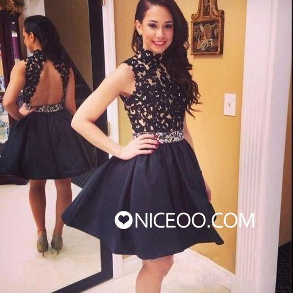d136b354dae Charming black A line princess Round Neck short mini satin prom dresses  with lace  promdress