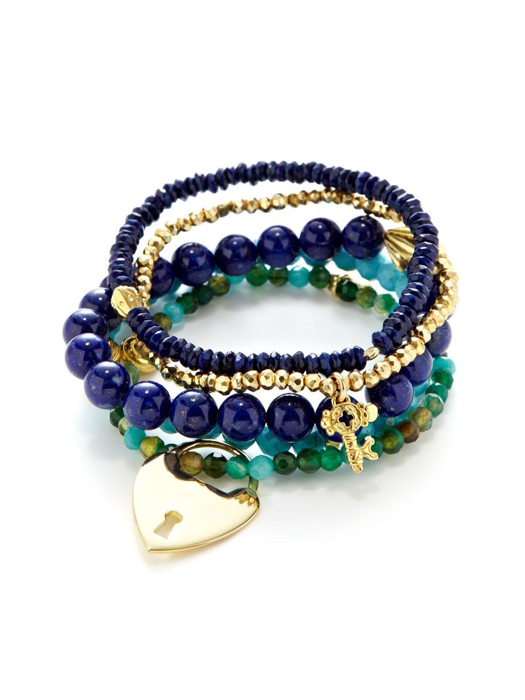 Set of 5 Lock & Key Charm, Lapis, & Semi-Precious Stone Stretch Bracelets by Good Charma at Gilt