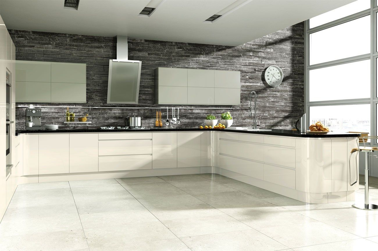 Linear Handleless Cream Hi-Gloss Kitchen | Fitted Kitchens | Betta Living