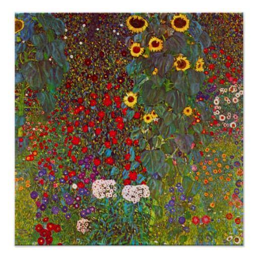 Gustav Klimt Farm Garden With Sunflowers Poster Zazzle Com Klimt Art Klimt Paintings Gustav Klimt Art