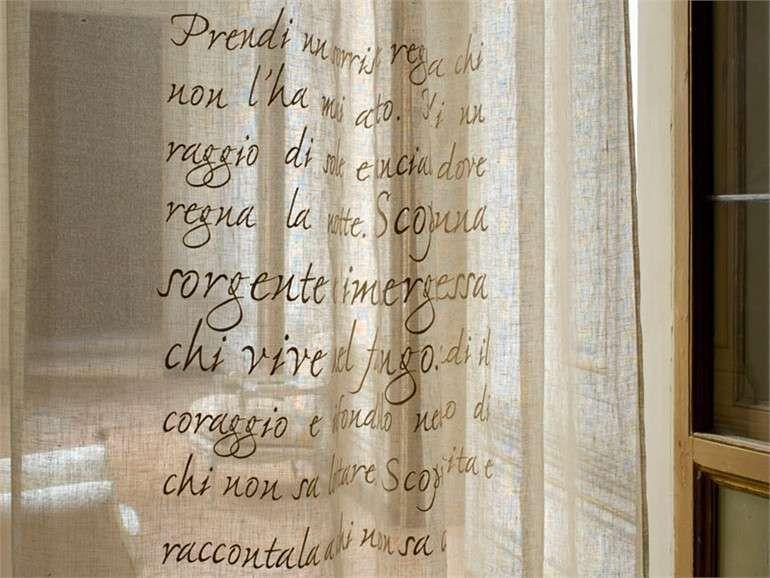Tende per la cucina fai da te - Tenda di lino con le scritte ...