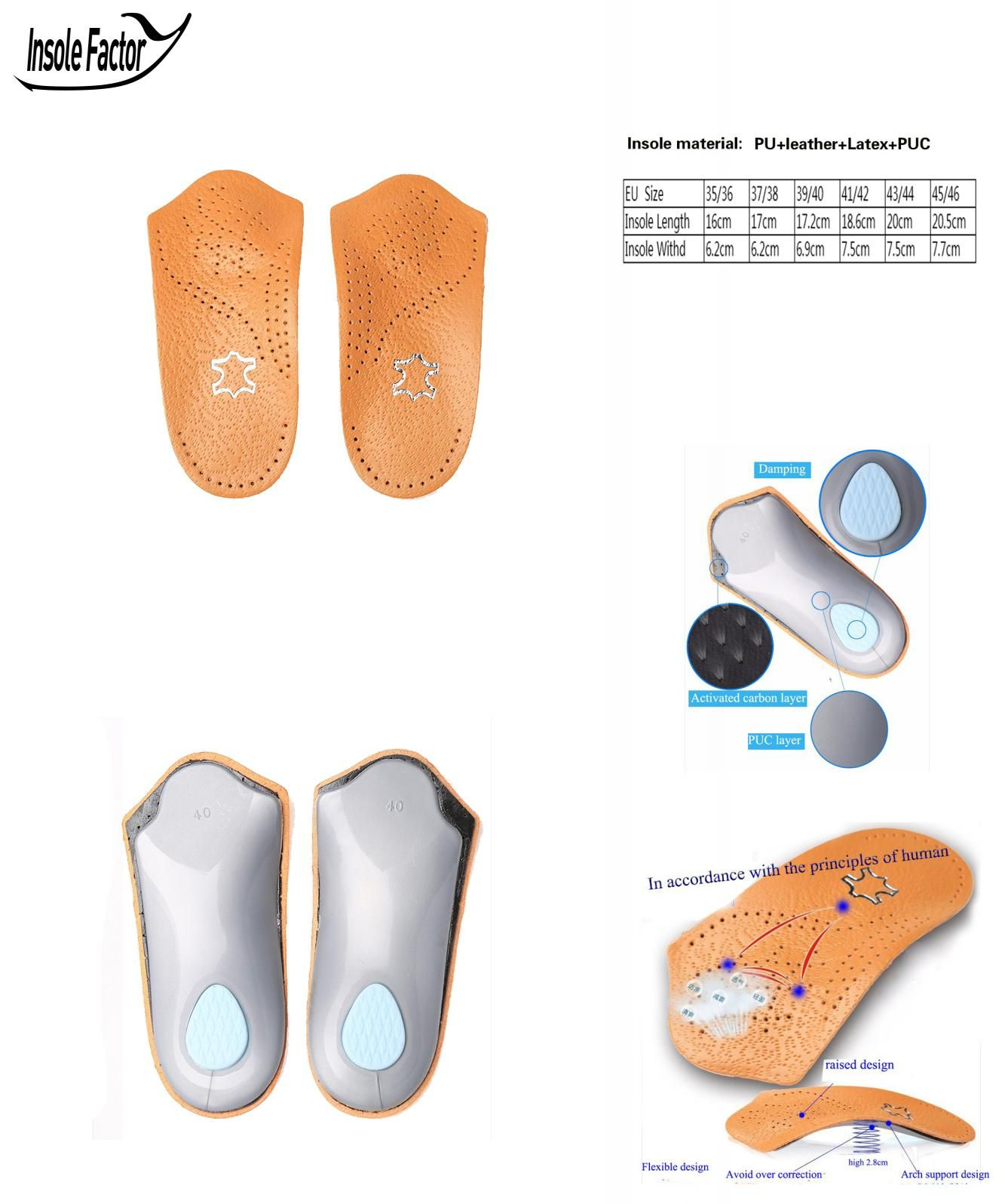 1 Pair Unisex Flat Foot Arch Support Half Shoe Pad Orthopedic Insoles Foot Care