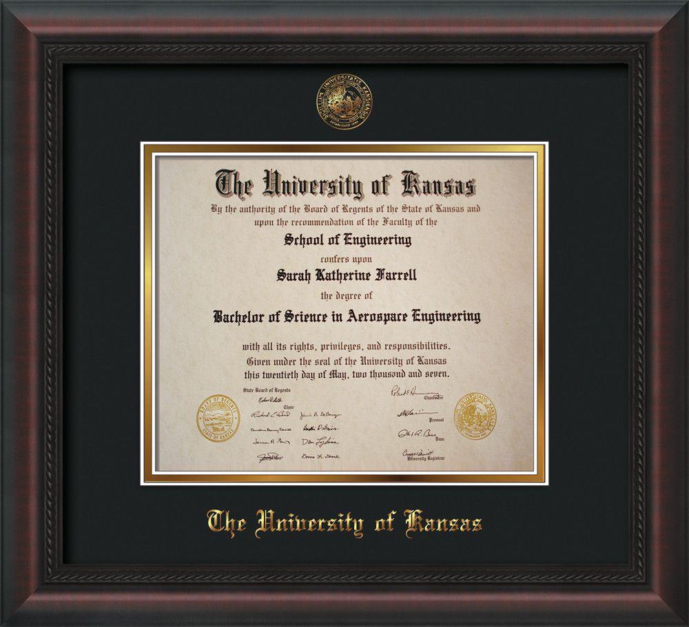 Univ of Kansas Diploma Frame-Mahog Braid-w/KU Seal-Black on Gold mat ...