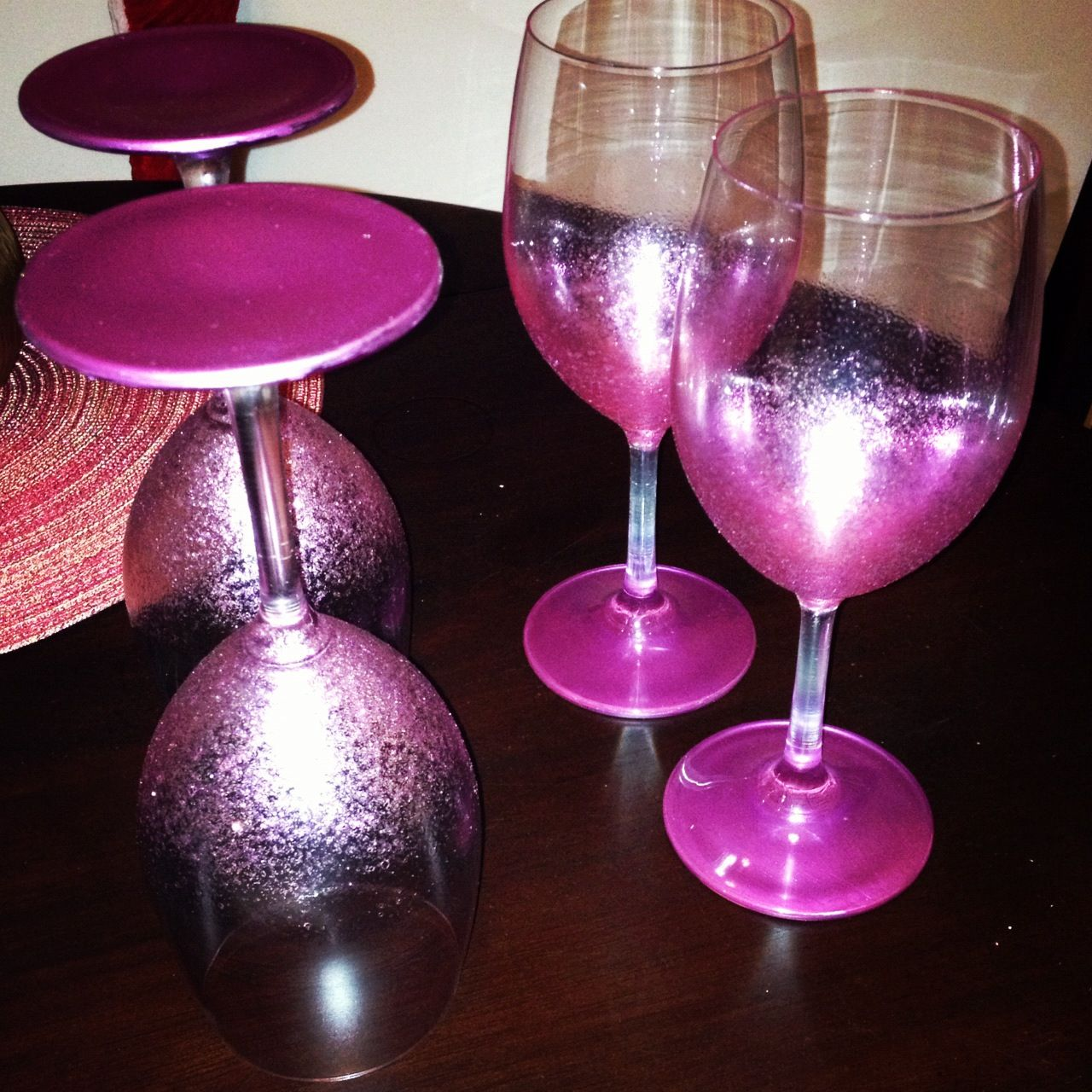 handpainted wine glasses martha stewart glitter paint