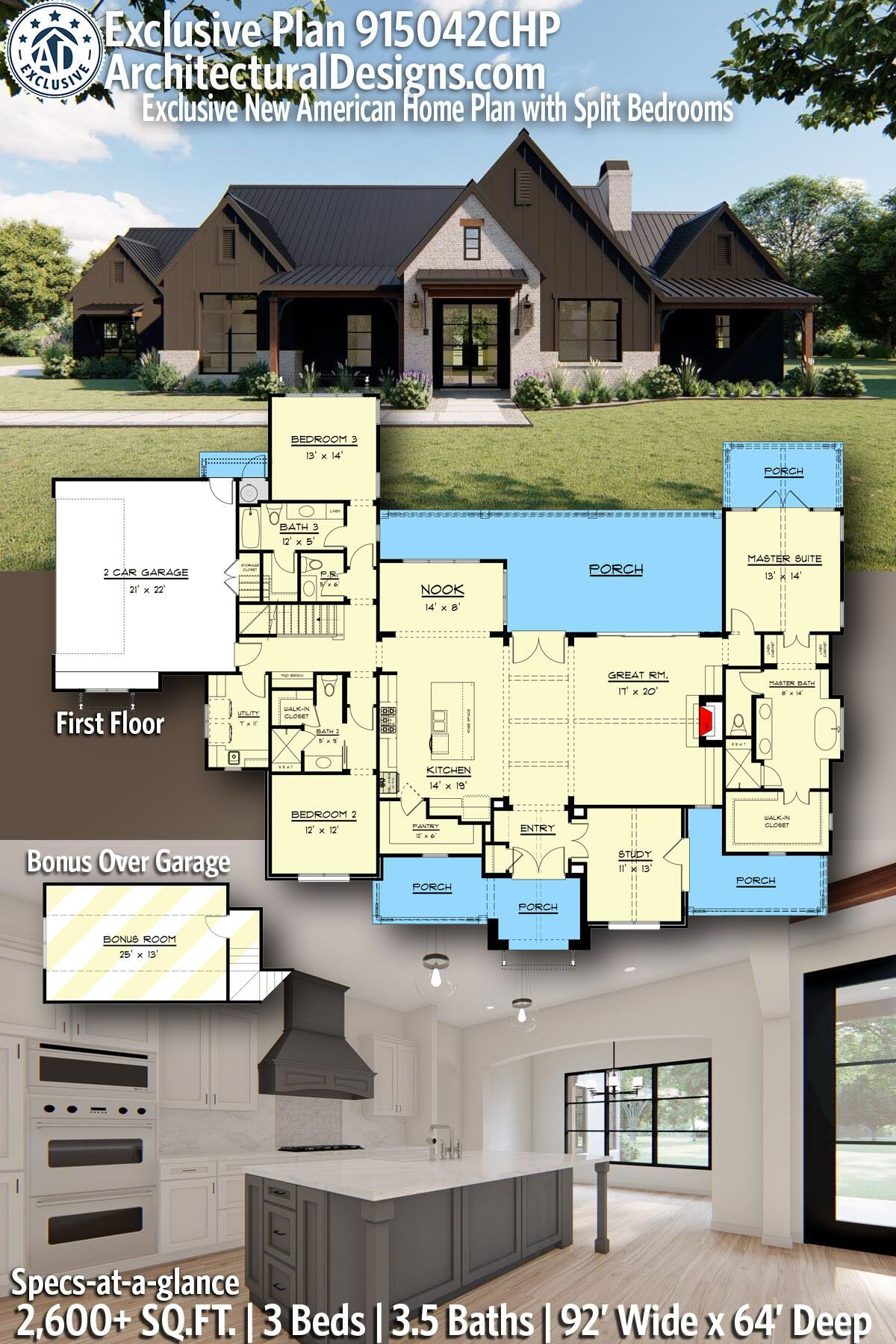 Plan 915042chp Exclusive New American Home Plan With Split Bedrooms New House Plans Dream House Plans House Plans Farmhouse