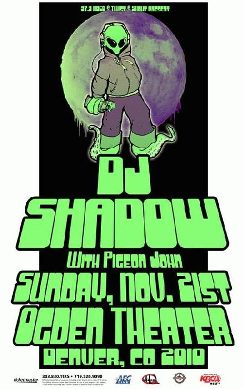 Original concert poster for DJ Shadow at The Ogden Theatre in Denver, CO in 2010.  11x17 card stock. Art by Mark Serlo