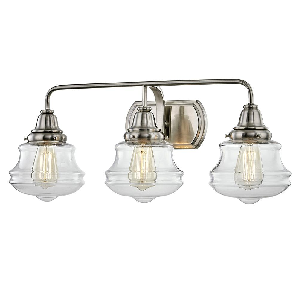 Fifth And Main Lighting Shipley 8 In 3 Light Brushed Nickel Vanity Sconce Light With Clear Glass Shades Hd 1809bn In 2020 Sconce Lighting Glass Shades Sconces