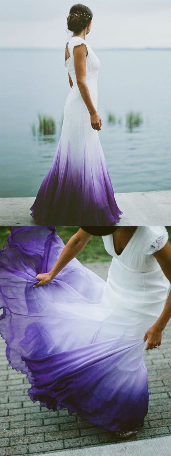 A Line V Neck Open Back Ombre Purple Chiffon Wedding Dress With Lace Purple Wedding Dress Ombre Wedding Dress V Neck Wedding Dress