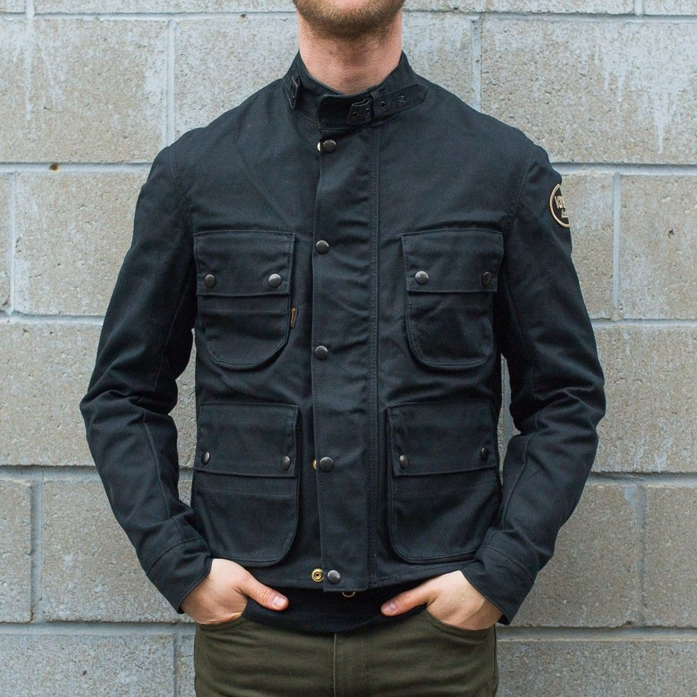 102d72f65 Vanson Dover Black Waxed Canvas Jacket | Town Moto | CafeRacerGear ...