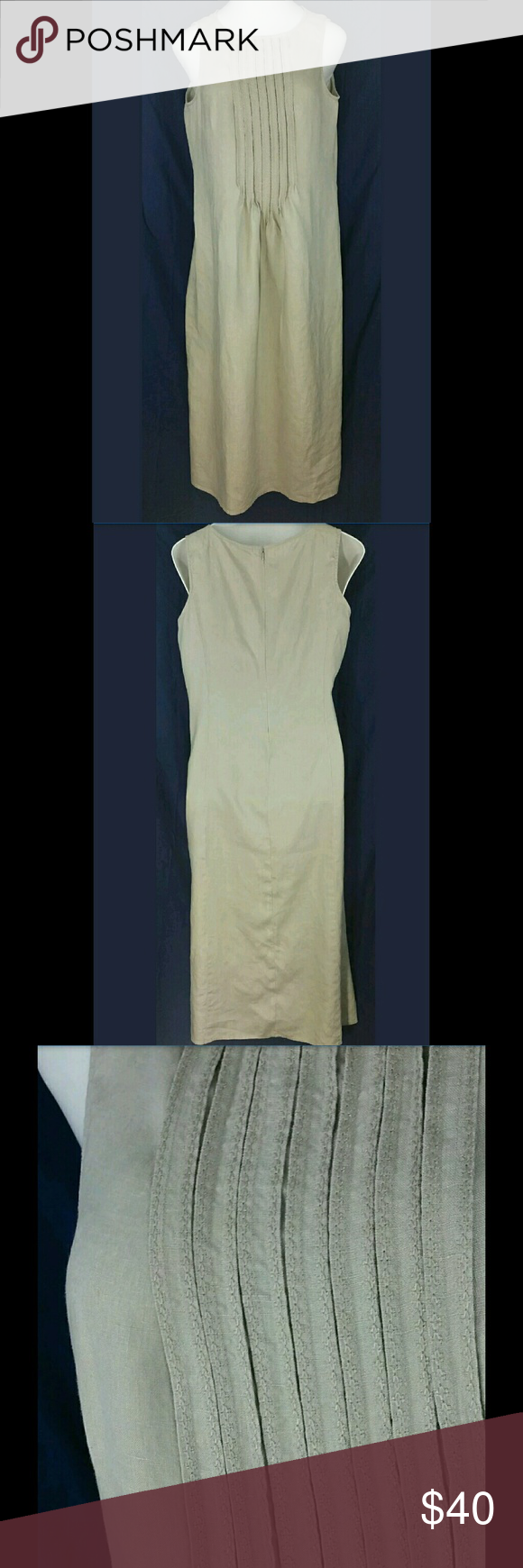 Jjill tan sleeveless maxi dress size medium tall tan jjill