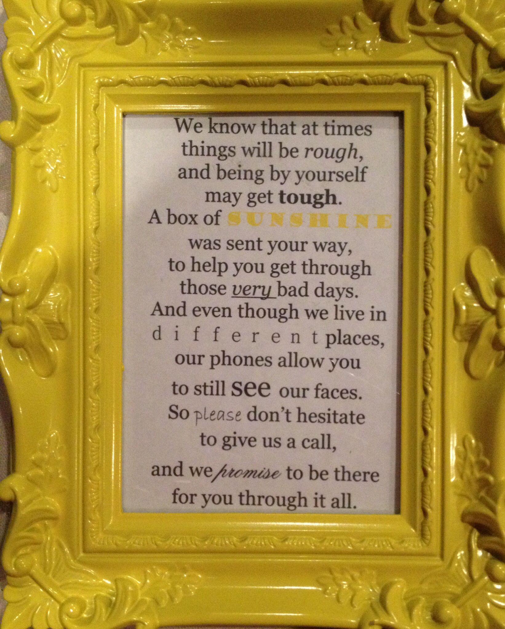 Box Of Sunshine Personal Poem Created Sunshine Gift Sympathy