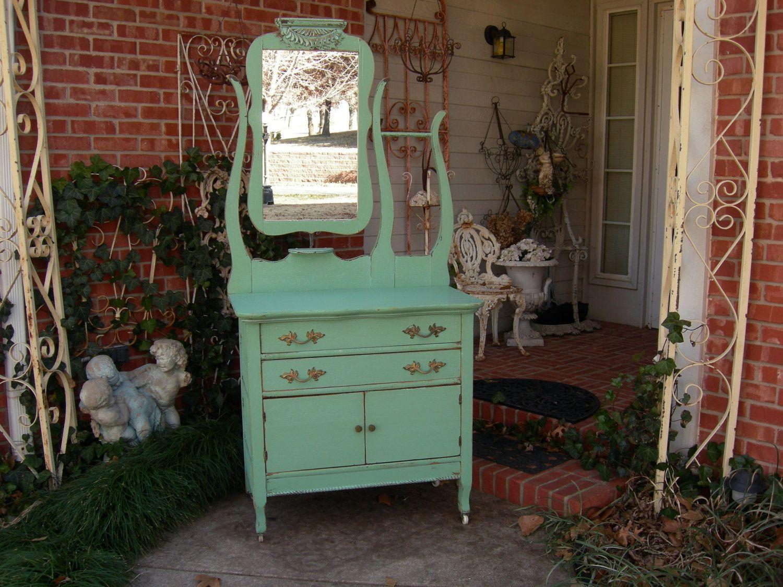 Shabby Chic Aqua Antique Oak Dresser Nightstand Entry Table Vanity Cabinet Washstand & Mirror