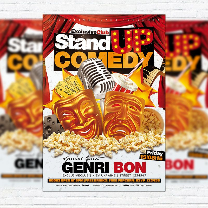 Stand Up Comedy Show Flyer Template – Comedy Show Flyer Template