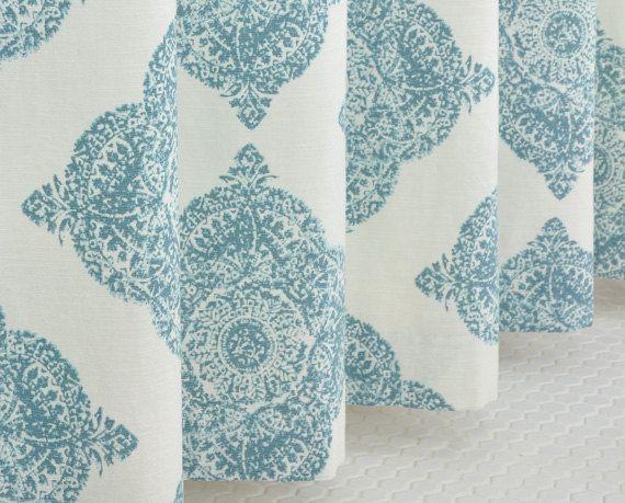 Aqua Medallion Shower Curtain 72 x 72 KILIM DESIGN by PondLilly ...