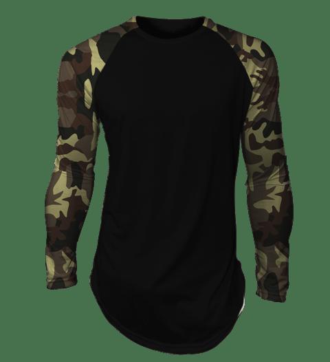 ca4e916af6 Camisa long line oversized Camuflada Exército Raglan Manga Longa Preta -  comprar online