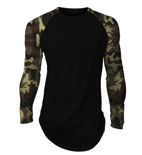 3f389811ea Camisa long line oversized Camuflada Exército Raglan Manga Longa Preta -  comprar online