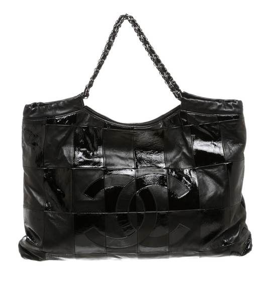 96ff39f614cf Chanel Black Matte and Patent Leather Patchwork Brooklyn Large Tote Handbag