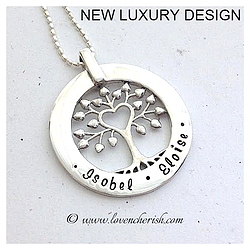 Hand stamped personalised pendant tree of love in sterling silver hand stamped personalised pendant tree of love in sterling silver this is a new addition aloadofball Image collections