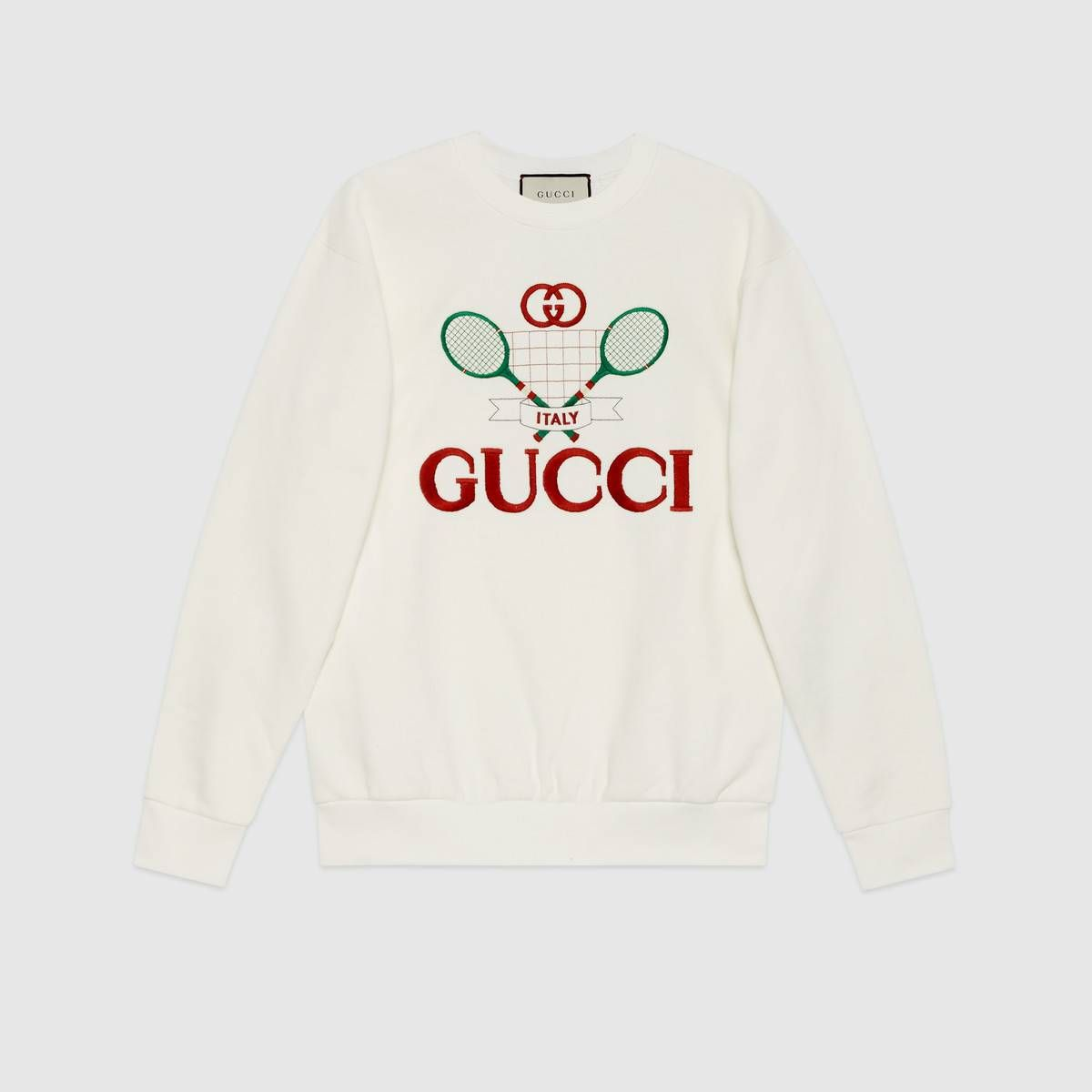 Shop The Oversize Sweatshirt With Gucci Tennis By Gucci Crafted From Ivory Felted Cotton Jersey This Sweat Sweatshirts Sweatshirts Women Designer Sweatshirts [ 1200 x 1200 Pixel ]