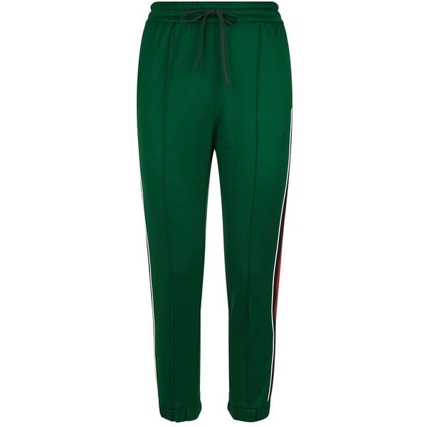 Gucci Web Trim Sweatpants ($630) ❤ liked on Polyvore featuring activewear, activewear pants, sport sweat pants, sport sweatpants, sports sweatpants, cuff sweat pants and cuff sweatpants