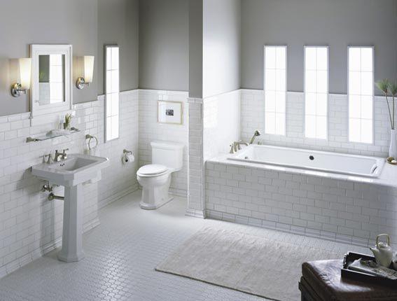 Elegant Traditional Bathroom Designs by Kohler Subway tiles White