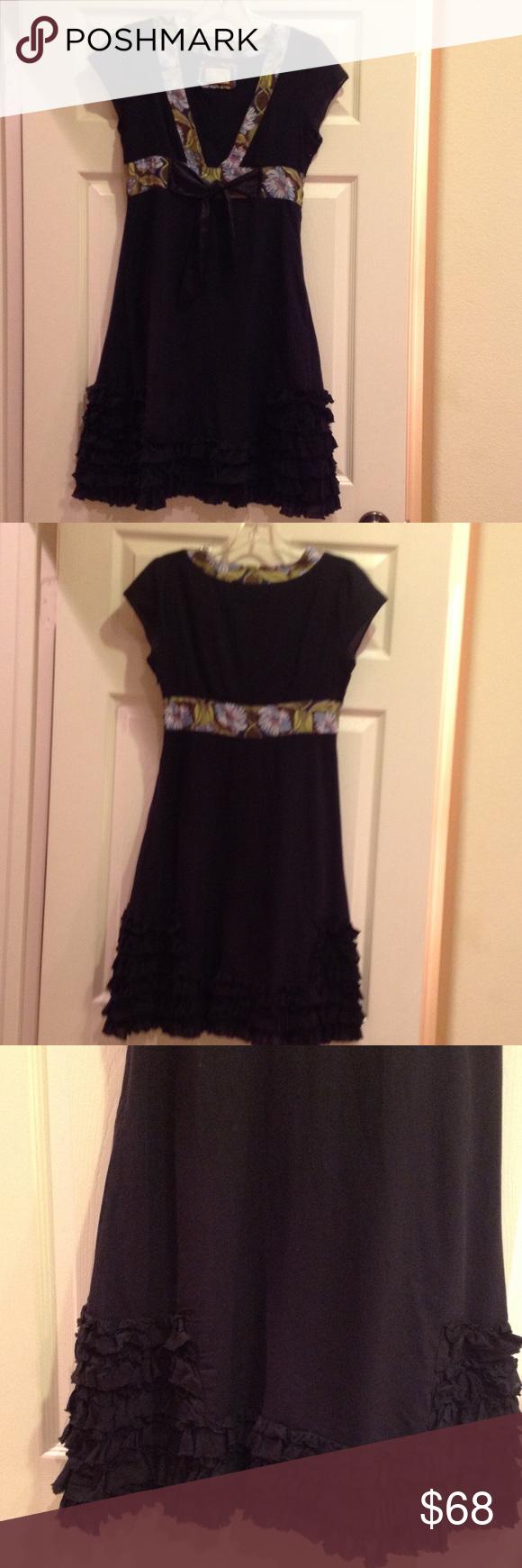 Free People Black Ruffled Cotton Dress Size 4 Free People Black Dress Clothes Design Cotton Dresses [ 1740 x 580 Pixel ]