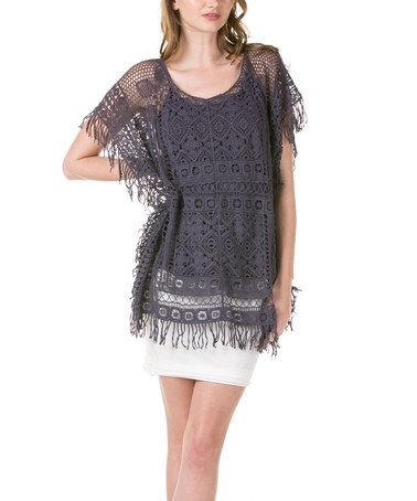 Loving this Charcoal Crochet Top & Tank on #zulily! #zulilyfinds