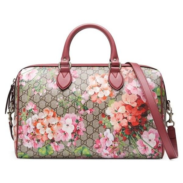 3f9d1bd1603a Women's Gucci Medium Blooms Gg Supreme Top Handle Canvas Bag ($1,750) ❤  liked on Polyvore featuring bags, handbags, flower print purse, gucci purse,  ...