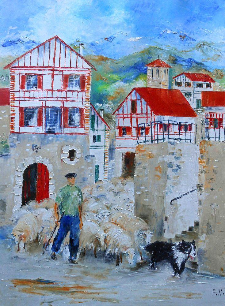 """Tableau paysage """"Transhumance au pays basque"""" de la boutique TableauxAxelleBosler sur Etsy"""