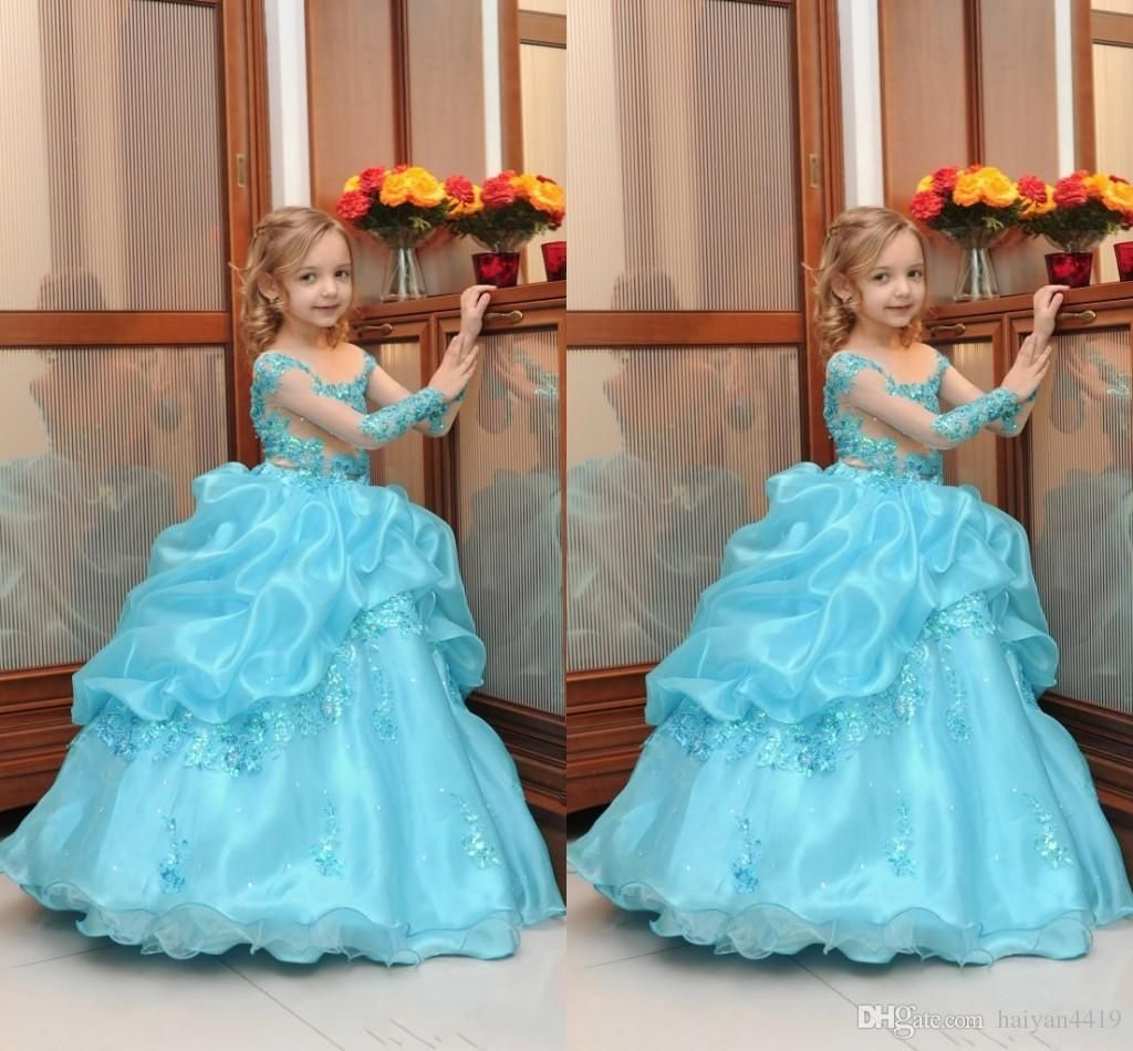 2016 Cute Blue Flower Girls Dresses For Weddings Jewel Neck Long ...