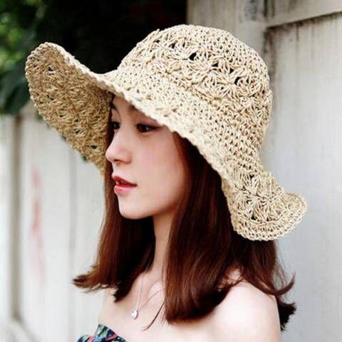283cd4ea552 Hand crochet straw sun hat for women UV summer travel beach hats ...